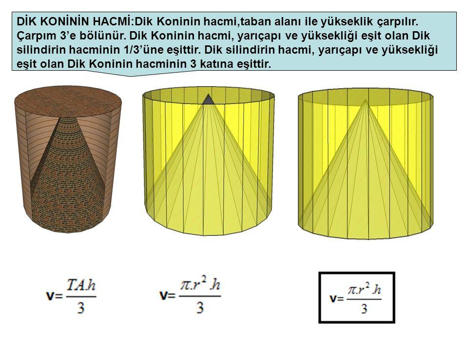 DİK KONİNİN HACMİ:Dik Koninin hacmi,taban alanı ile yükseklik çarpılır. Çarpım 3'e bölünür. Dik Koninin hacmi, yarıçapı ve yüksekliği eşit olan Dik si