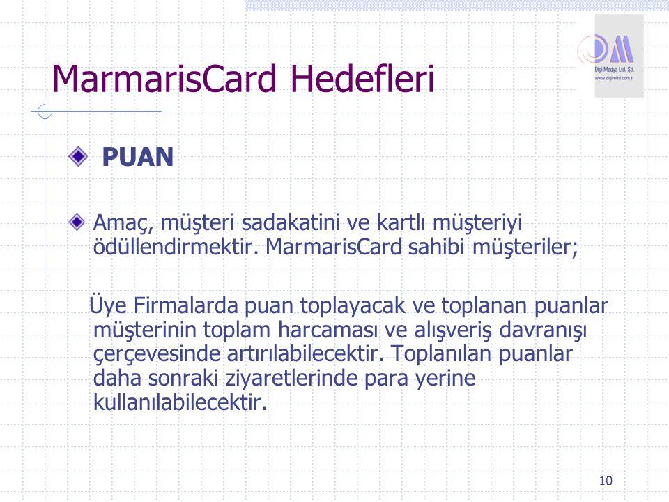 10 MarmarisCard Hedefleri PUAN Amaç, müşteri sadakatini ve kartlı müşteriyi ödüllendirmektir. MarmarisCard sahibi müşteriler; Üye Firmalarda puan topl
