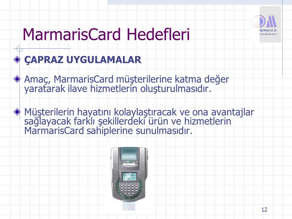 12 MarmarisCard Hedefleri ÇAPRAZ UYGULAMALAR Amaç, MarmarisCard müşterilerine katma değer yaratarak ilave hizmetlerin oluşturulmasıdır. Müşterilerin h