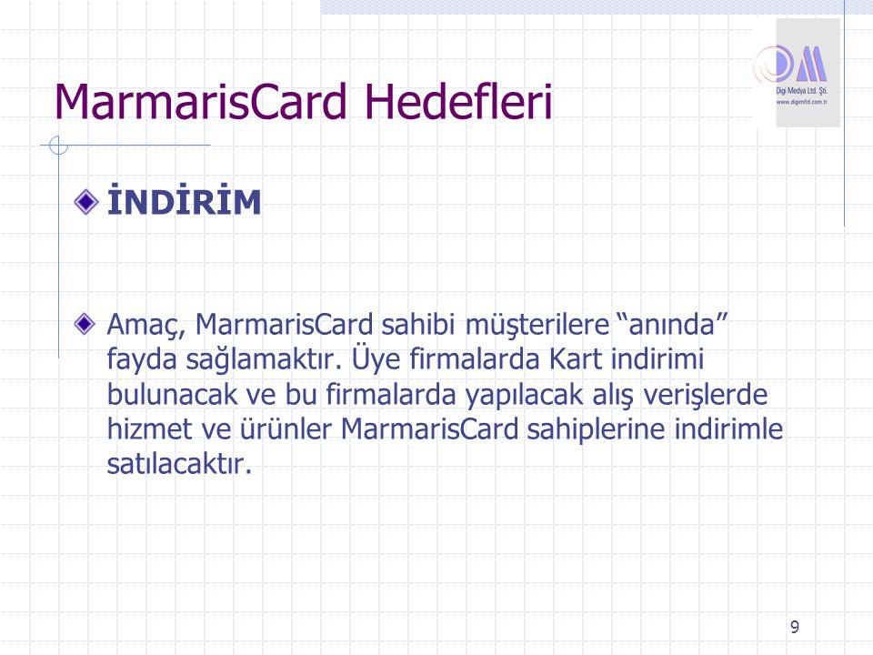 """9 İNDİRİM Amaç, MarmarisCard sahibi müşterilere """"anında"""" fayda sağlamaktır. Üye firmalarda Kart indirimi bulunacak ve bu firmalarda yapılacak alış ver"""