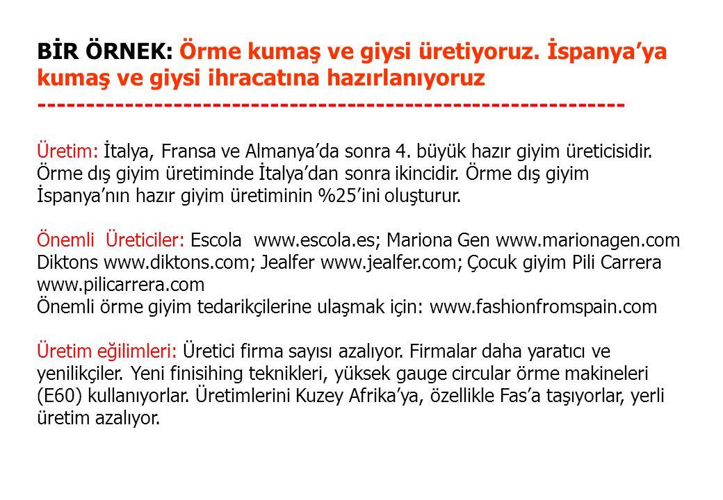 BİR ÖRNEK: Örme kumaş ve giysi üretiyoruz. İspanya'ya kumaş ve giysi ihracatına hazırlanıyoruz -------------------------------------------------------
