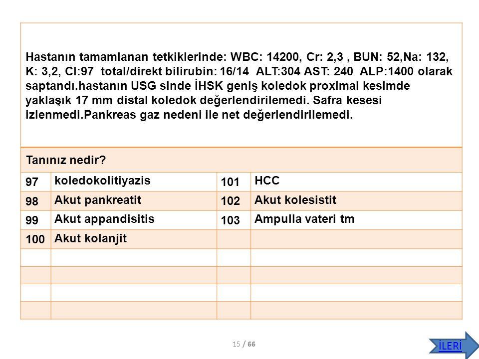 Hastanın tamamlanan tetkiklerinde: WBC: 14200, Cr: 2,3, BUN: 52,Na: 132, K: 3,2, Cl:97 total/direkt bilirubin: 16/14 ALT:304 AST: 240 ALP:1400 olarak