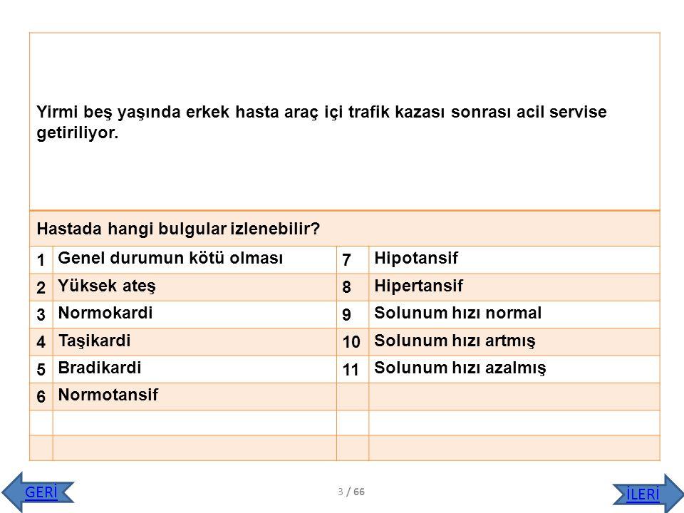 Hastanın ilk değerlendirilmesinde TA:100/50 nbz: 120/dk, solunum: 30/dk, ateş: 36,5.