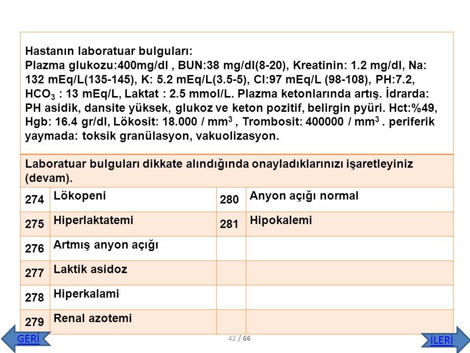 Hastanın laboratuar bulguları: Plazma glukozu:400mg/dl, BUN:38 mg/dl(8-20), Kreatinin: 1.2 mg/dl, Na: 132 mEq/L(135-145), K: 5.2 mEq/L(3.5-5), Cl:97 m