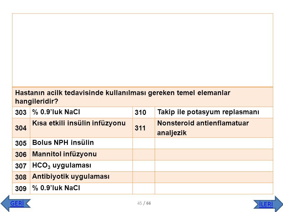 Hastanın acilk tedavisinde kullanılması gereken temel elemanlar hangileridir? 303 % 0.9'luk NaCl 310 Takip ile potasyum replasmanı 304 Kısa etkili ins
