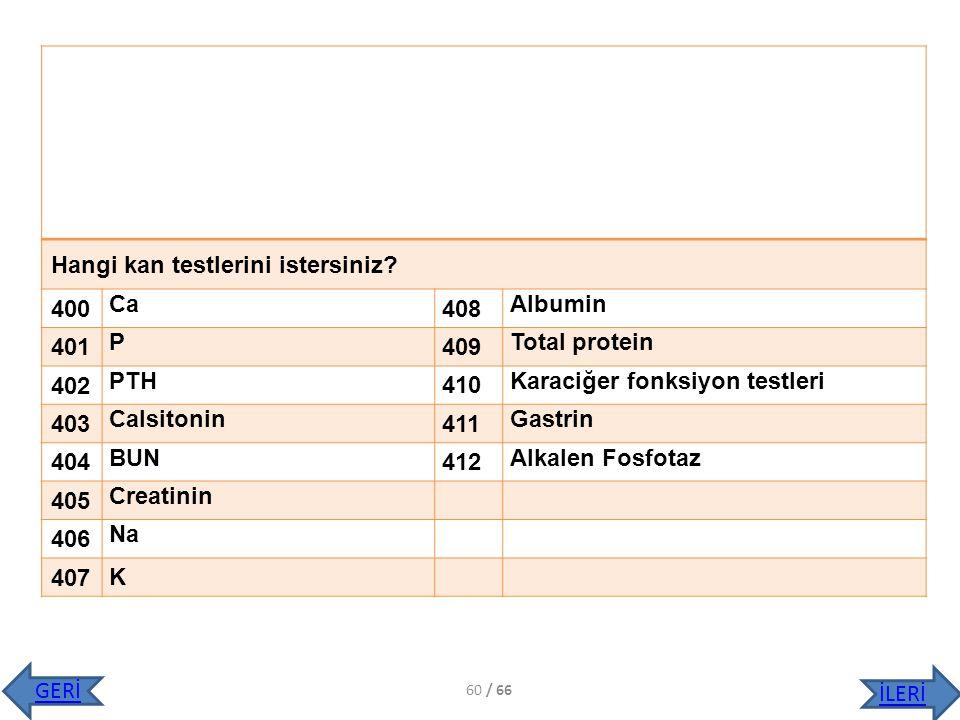 Hangi kan testlerini istersiniz? 400 Ca 408 Albumin 401 P 409 Total protein 402 PTH 410 Karaciğer fonksiyon testleri 403 Calsitonin 411 Gastrin 404 BU