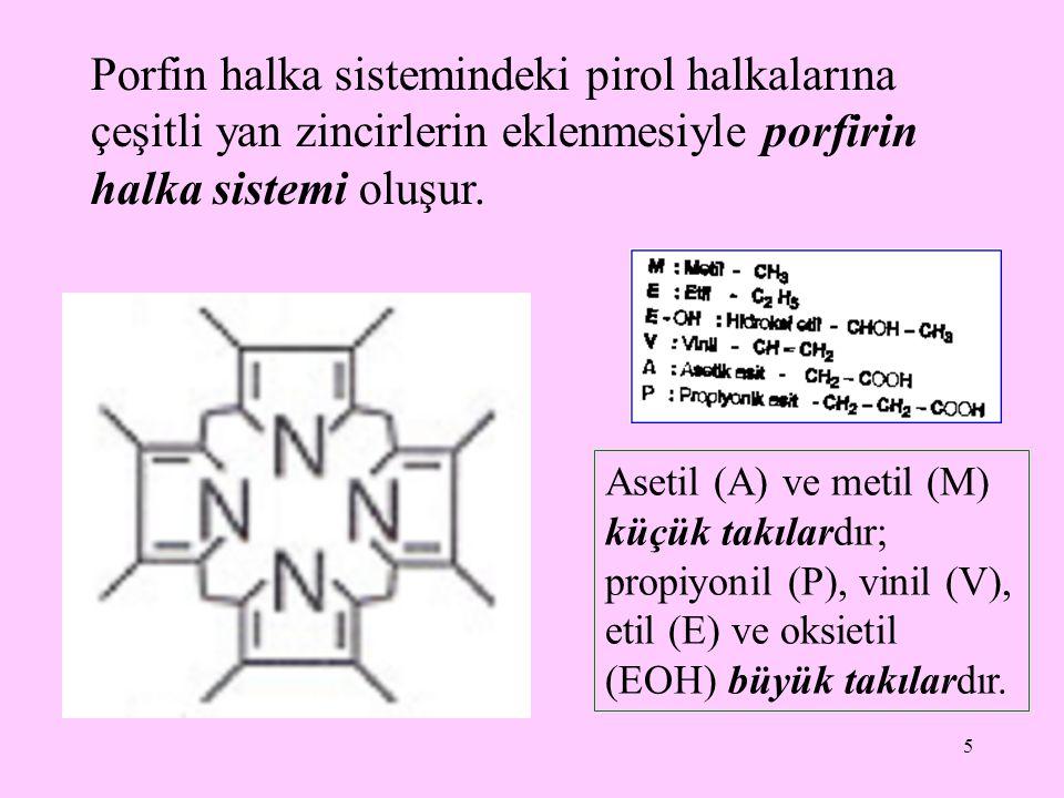 6 Porfirinler, porfirin halka sistemini oluşturan pirol halkalarına bağlı takıların türüne göre isimlendirilirler ve sınıflandırılırlar; ayrıca her sınıfın alt sınıfları vardır takıların diziliş sırasına göre çeşitli izomer şekiller oluşur ki doğada en çok tipI ve tip III izomer şekiller bulunur