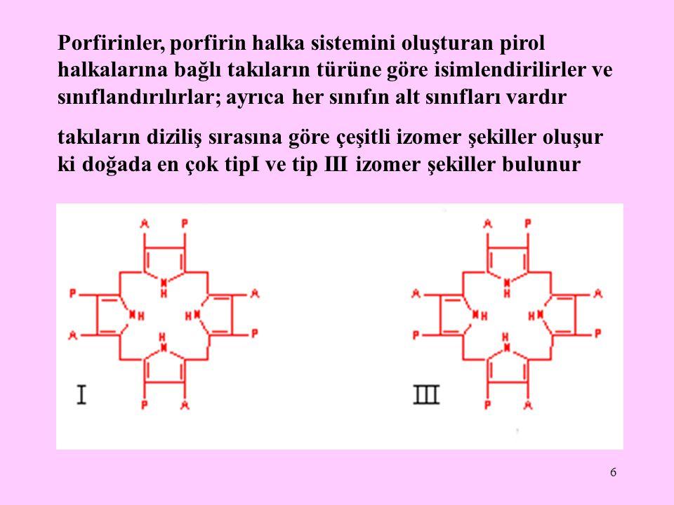 7 Üroporfirinler (URO) koproporfirinler (KOPRO) ve protoporfirinler (PROTO), üç ana porfirin türüdürler.