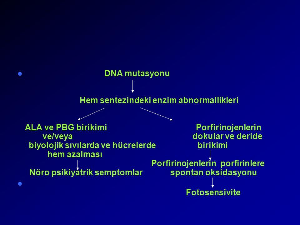 DNA mutasyonu Hem sentezindeki enzim abnormallikleri ALA ve PBG birikimi Porfirinojenlerin ve/veyadokular ve deride biyolojik sıvılarda ve hücrelerdebirikimi hem azalması Porfirinojenlerin porfirinlere Nöro psikiyatrik semptomlar spontan oksidasyonu Fotosensivite