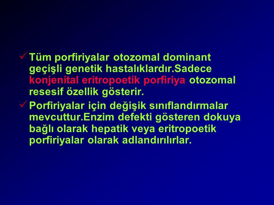 Tüm porfiriyalar otozomal dominant geçişli genetik hastalıklardır.Sadece konjenital eritropoetik porfiriya otozomal resesif özellik gösterir.