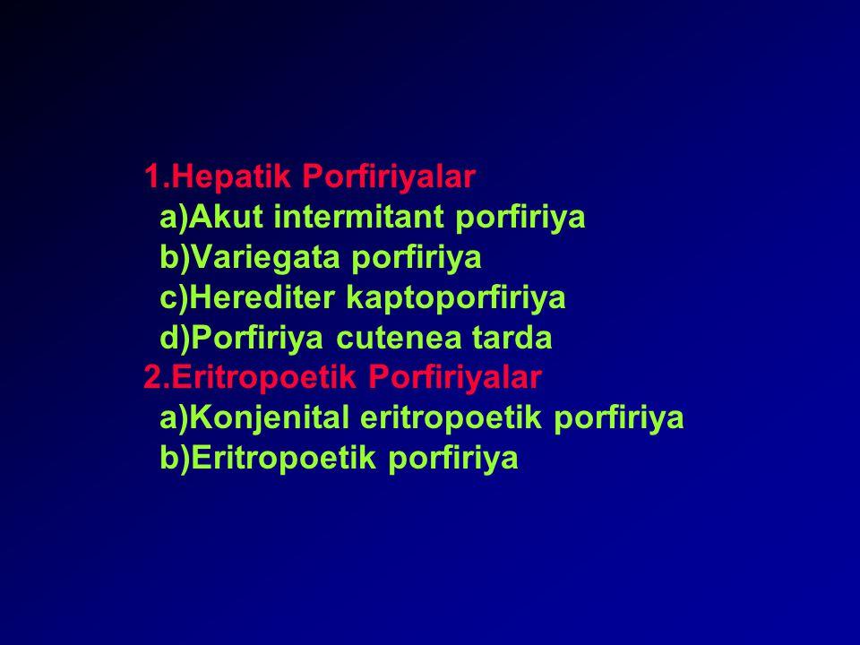 1.Hepatik Porfiriyalar a)Akut intermitant porfiriya b)Variegata porfiriya c)Herediter kaptoporfiriya d)Porfiriya cutenea tarda 2.Eritropoetik Porfiriyalar a)Konjenital eritropoetik porfiriya b)Eritropoetik porfiriya
