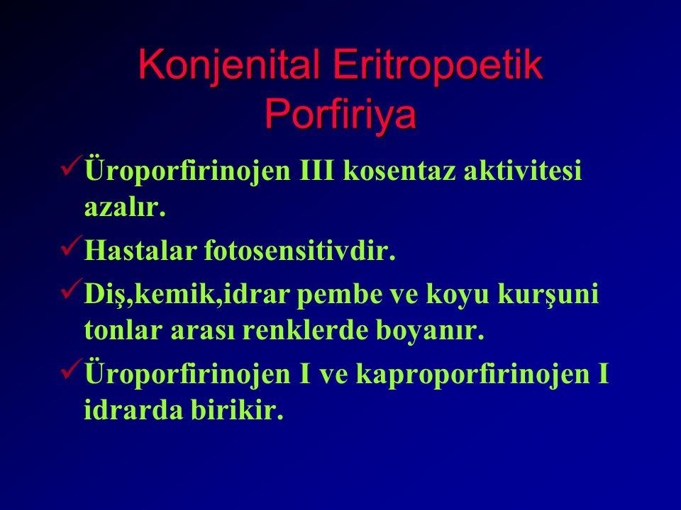 Konjenital Eritropoetik Porfiriya Üroporfirinojen III kosentaz aktivitesi azalır.