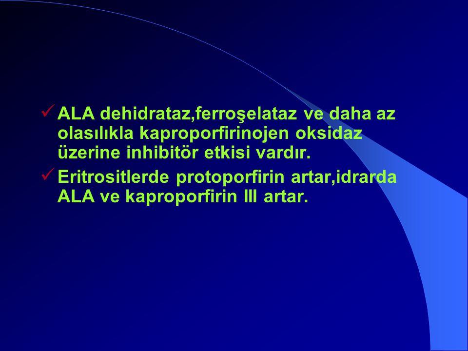 ALA dehidrataz,ferroşelataz ve daha az olasılıkla kaproporfirinojen oksidaz üzerine inhibitör etkisi vardır.