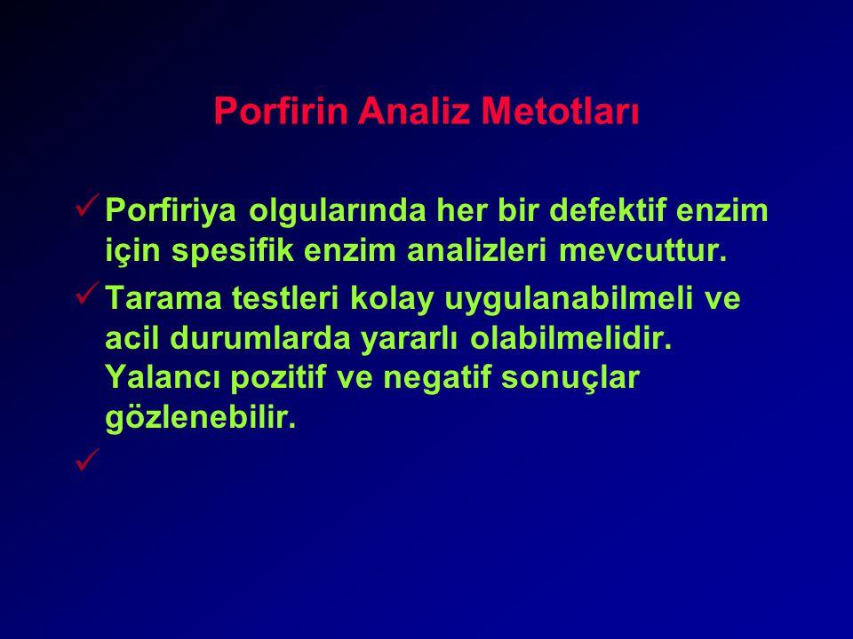 Porfirin Analiz Metotları Porfiriya olgularında her bir defektif enzim için spesifik enzim analizleri mevcuttur.