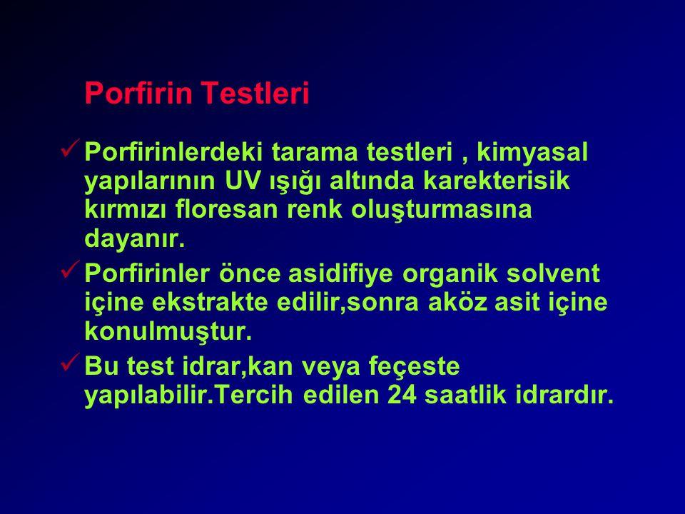 Porfirin Testleri Porfirinlerdeki tarama testleri, kimyasal yapılarının UV ışığı altında karekterisik kırmızı floresan renk oluşturmasına dayanır.