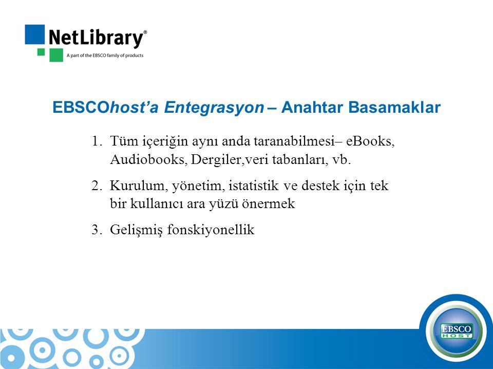 EBSCOhost'a Entegrasyon – Anahtar Basamaklar 1.Tüm içeriğin aynı anda taranabilmesi– eBooks, Audiobooks, Dergiler,veri tabanları, vb. 2.Kurulum, yönet