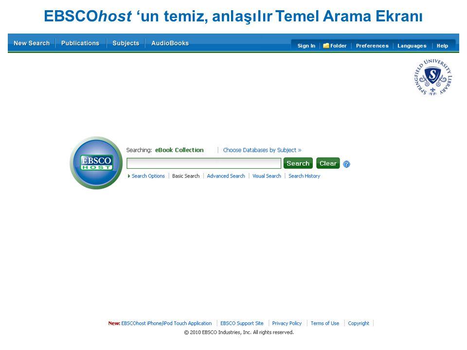 EBSCOhost 'un temiz, anlaşılır Temel Arama Ekranı