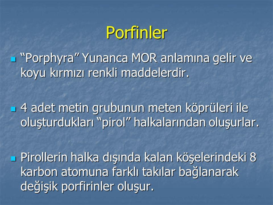 """Porfinler """"Porphyra"""" Yunanca MOR anlamına gelir ve koyu kırmızı renkli maddelerdir. """"Porphyra"""" Yunanca MOR anlamına gelir ve koyu kırmızı renkli madde"""