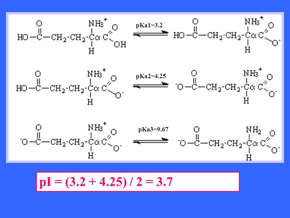 pI = (3.2 + 4.25) / 2 = 3.7 pKa1=3.2 pKa2=4.25 pKa3=9.67