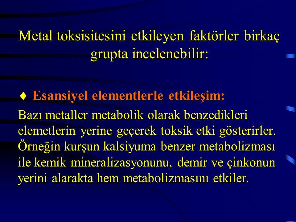 Metal toksisitesini etkileyen faktörler birkaç grupta incelenebilir:  Esansiyel elementlerle etkileşim: Bazı metaller metabolik olarak benzedikleri e