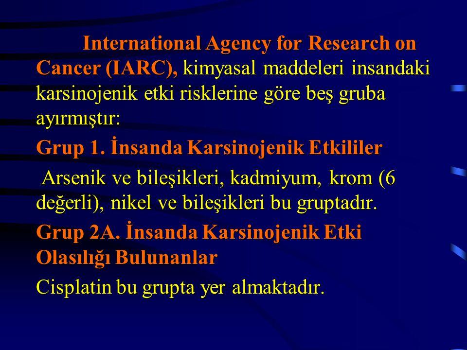 International Agency for Research on Cancer (IARC), kimyasal maddeleri insandaki karsinojenik etki risklerine göre beş gruba ayırmıştır: Grup 1. İnsan