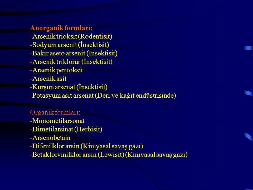 Anorganik formları: -Arsenik trioksit (Rodentisit) -Sodyum arsenit (İnsektisit) -Bakır aseto arsenit (İnsektisit) -Arsenik triklorür (İnsektisit) -Ars
