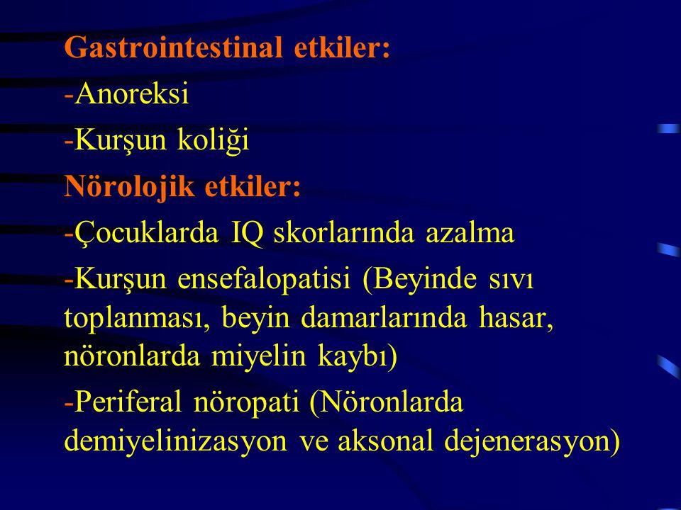 Gastrointestinal etkiler: -Anoreksi -Kurşun koliği Nörolojik etkiler: -Çocuklarda IQ skorlarında azalma -Kurşun ensefalopatisi (Beyinde sıvı toplanmas