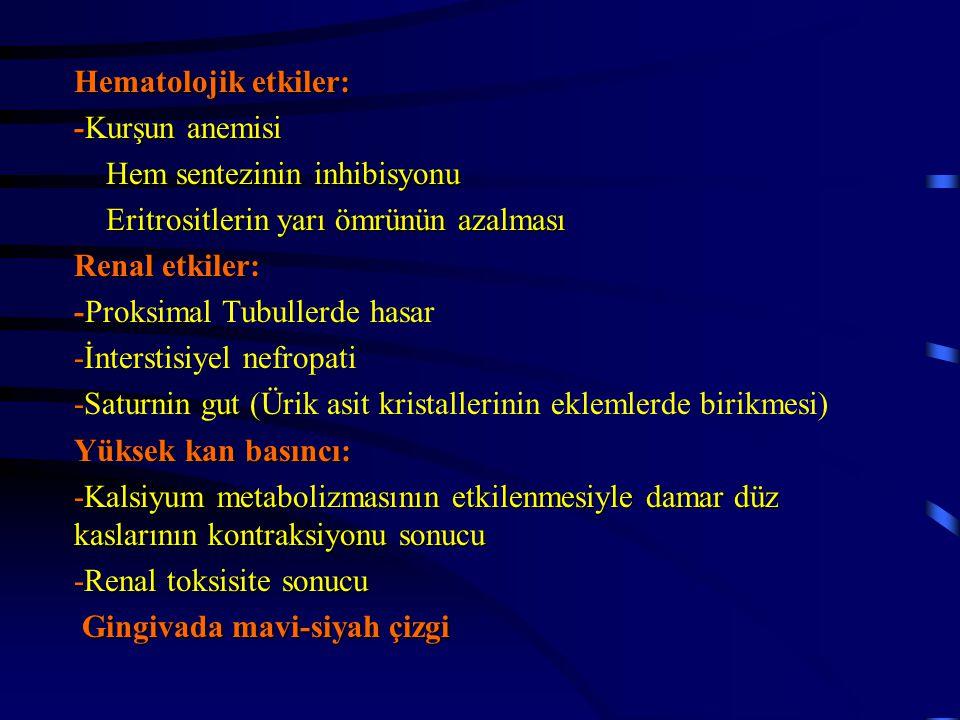 Hematolojik etkiler: -Kurşun anemisi Hem sentezinin inhibisyonu Hem sentezinin inhibisyonu Eritrositlerin yarı ömrünün azalması Eritrositlerin yarı öm
