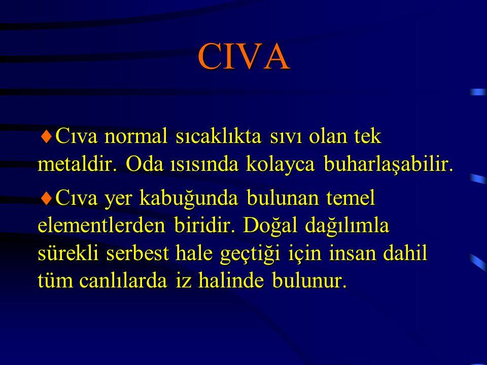 CIVA  Cıva normal sıcaklıkta sıvı olan tek metaldir. Oda ısısında kolayca buharlaşabilir.  Cıva yer kabuğunda bulunan temel elementlerden biridir. D