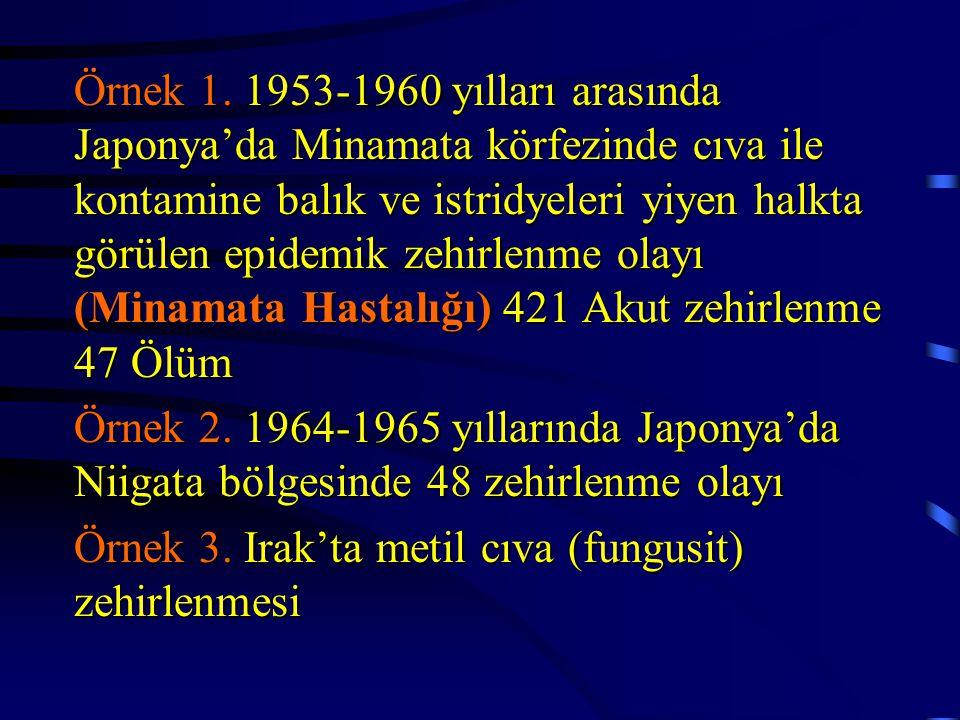 Örnek 1. 1953-1960 yılları arasında Japonya'da Minamata körfezinde cıva ile kontamine balık ve istridyeleri yiyen halkta görülen epidemik zehirlenme o