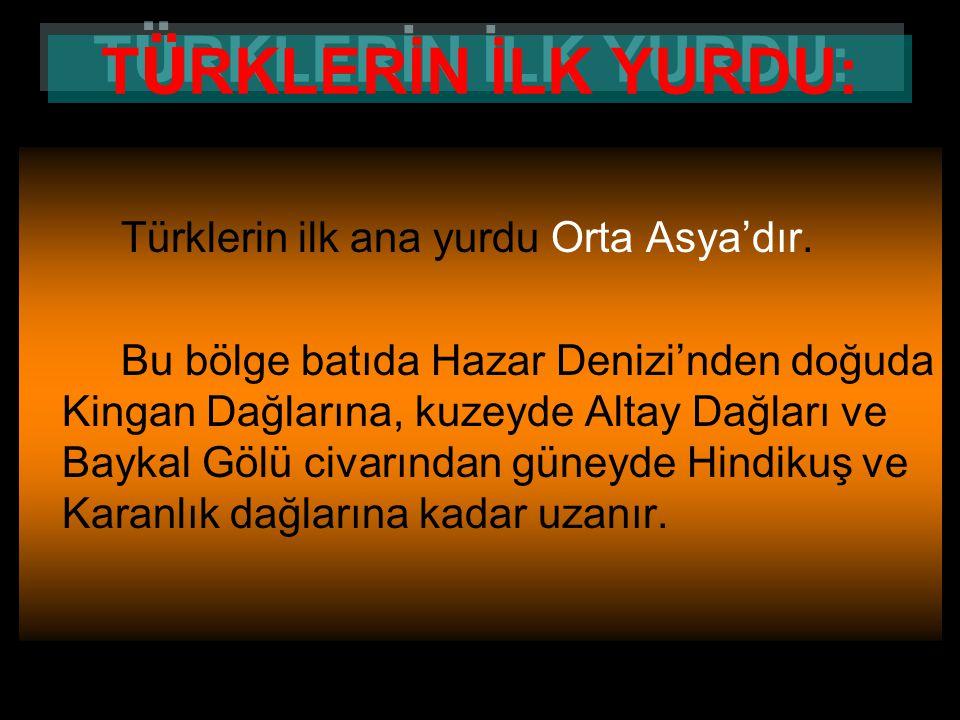 www.evdekisosyalci.com14 TÜRKLER'İN İLK ANA YURDU Türkler'in ilk ana yurdu Orta Asya'da; Batı'da Hazar Denizi'nden Doğu'da Kingan Dağları'na, Kuzey'de
