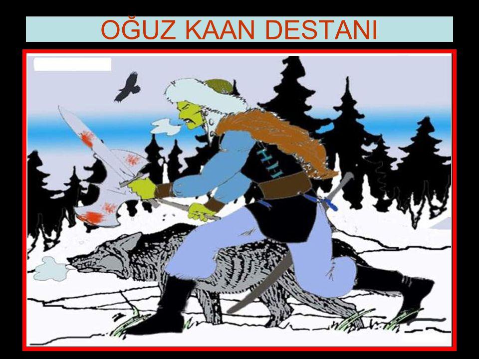 """www.evdekisosyalci.com8 OĞUZ KAAN DESTANI Sonra dedi ki: """"Canavar geyiği ve ayıyı yedi. Kargım demir olduğundan dolayı, onu öldürdü. Canavarı da ala d"""