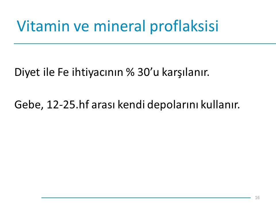 Vitamin ve mineral proflaksisi Diyet ile Fe ihtiyacının % 30'u karşılanır. Gebe, 12-25.hf arası kendi depolarını kullanır. 16