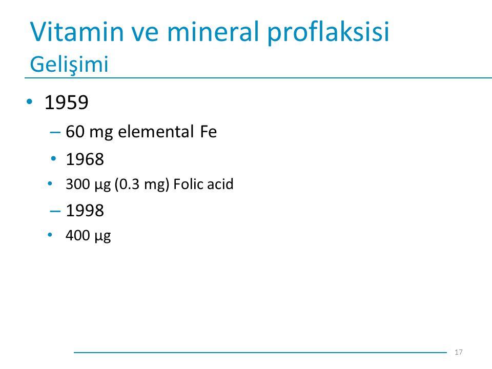 Vitamin ve mineral proflaksisi Gelişimi 1959 – 60 mg elemental Fe 1968 300 μg (0.3 mg) Folic acid – 1998 400 μg 17
