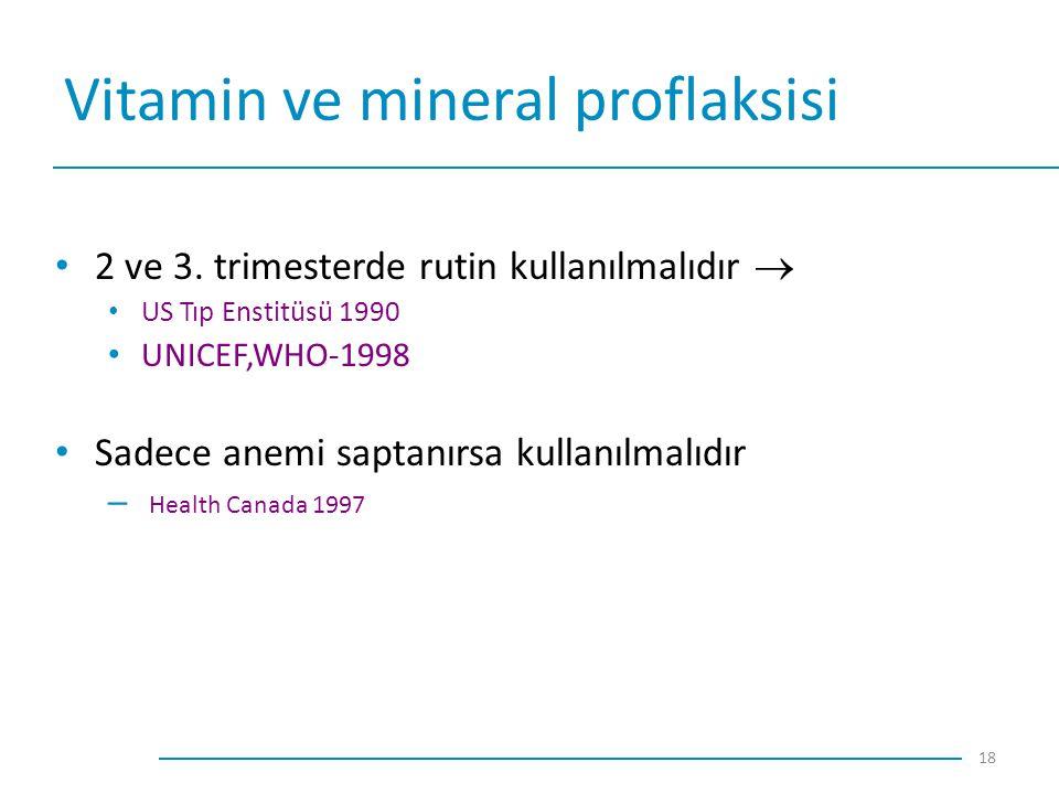 Vitamin ve mineral proflaksisi 2 ve 3. trimesterde rutin kullanılmalıdır  US Tıp Enstitüsü 1990 UNICEF,WHO-1998 Sadece anemi saptanırsa kullanılmalıd