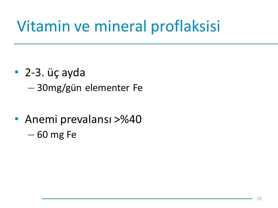 Vitamin ve mineral proflaksisi 2-3. üç ayda – 30mg/gün elementer Fe Anemi prevalansı >%40 – 60 mg Fe 19