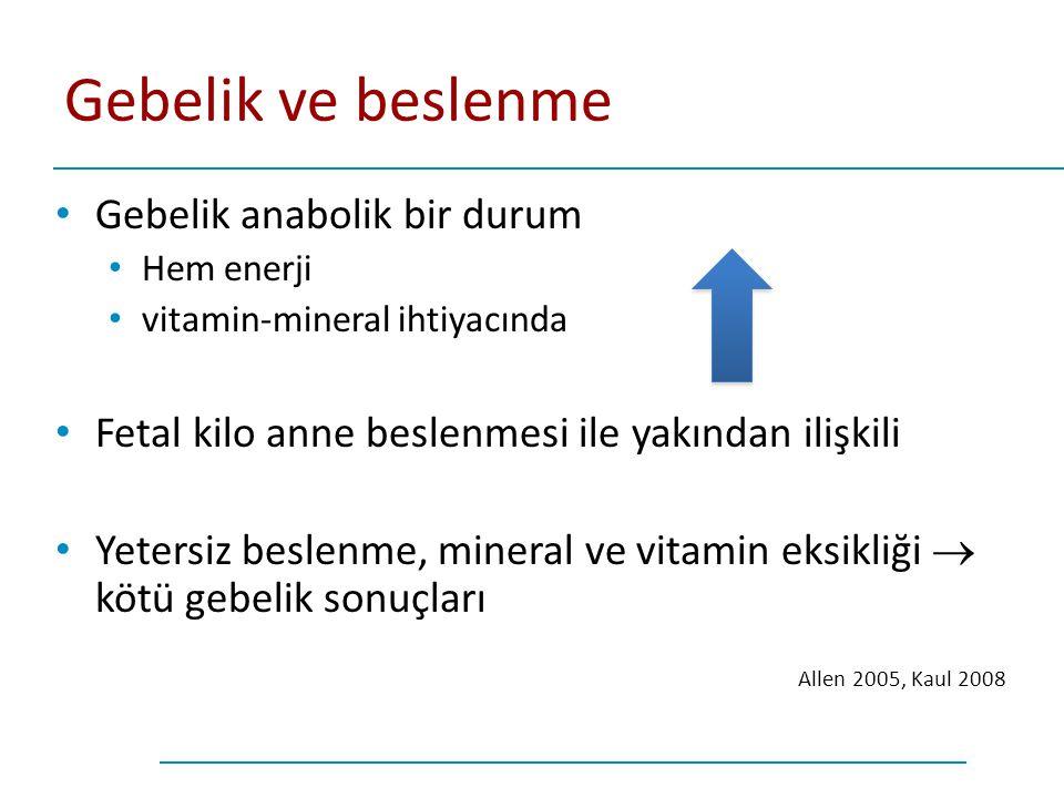 Gebelik ve beslenme Gebelik anabolik bir durum Hem enerji vitamin-mineral ihtiyacında Fetal kilo anne beslenmesi ile yakından ilişkili Yetersiz beslen