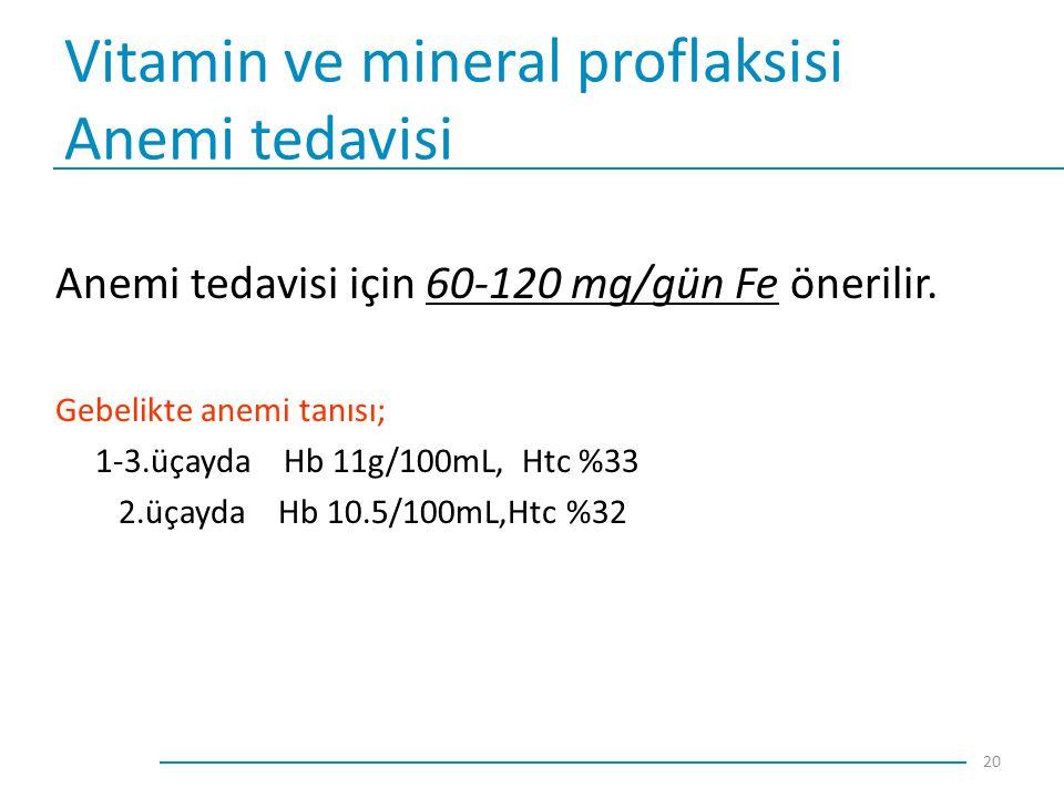 Vitamin ve mineral proflaksisi Anemi tedavisi Anemi tedavisi için 60-120 mg/gün Fe önerilir. Gebelikte anemi tanısı; 1-3.üçayda Hb 11g/100mL, Htc %33