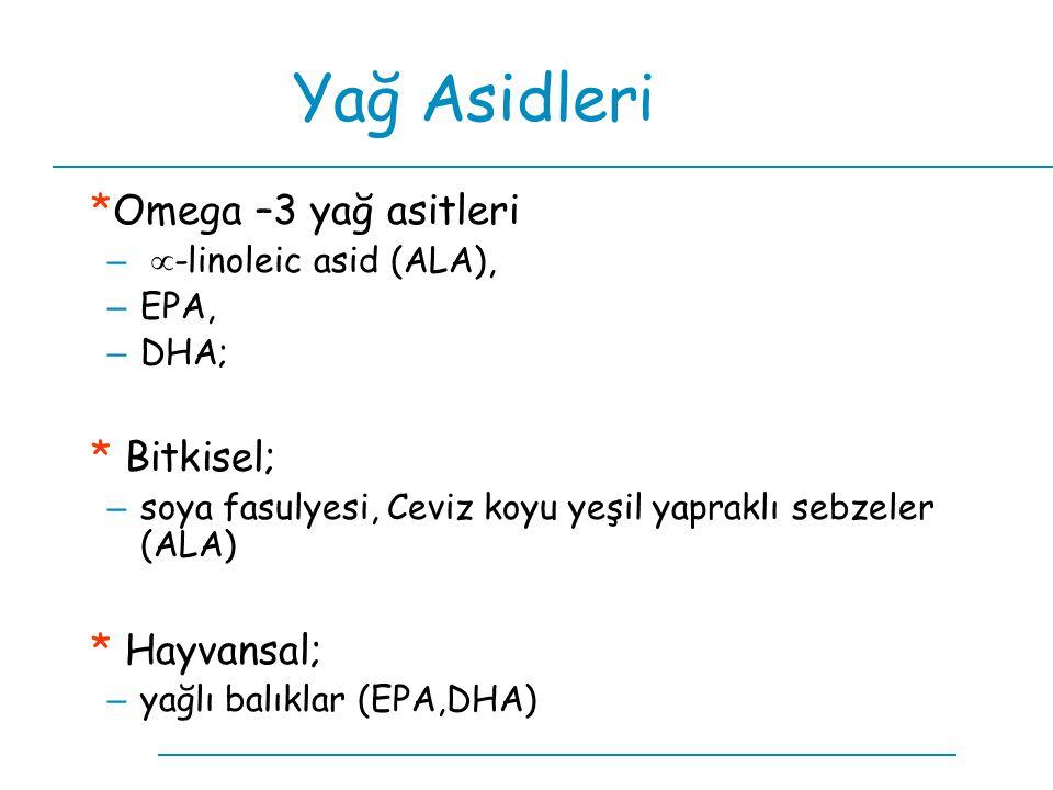 Yağ Asidleri *Omega –3 yağ asitleri –  -linoleic asid (ALA), – EPA, – DHA; * Bitkisel; – soya fasulyesi, Ceviz koyu yeşil yapraklı sebzeler (ALA) * H
