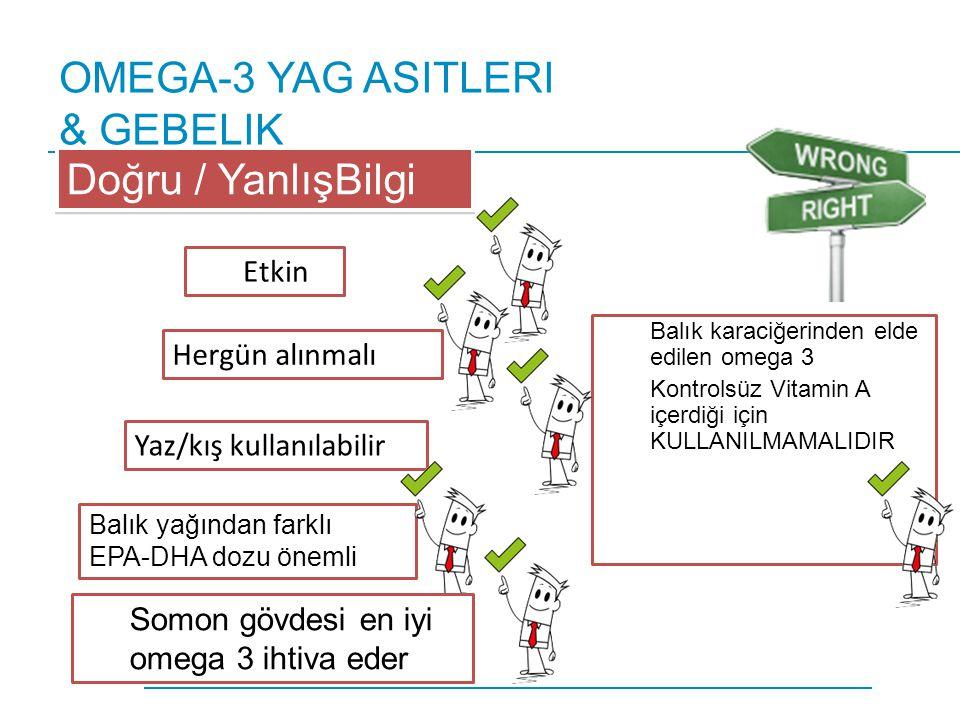 OMEGA-3 YAG ASITLERI & GEBELIK Balık karaciğerinden elde edilen omega 3 Kontrolsüz Vitamin A içerdiği için KULLANILMAMALIDIR Doğru / YanlışBilgi Etkin