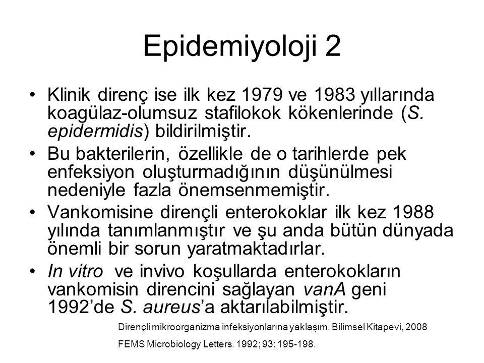 Epidemiyoloji 2 Klinik direnç ise ilk kez 1979 ve 1983 yıllarında koagülaz-olumsuz stafilokok kökenlerinde (S. epidermidis) bildirilmiştir. Bu bakteri