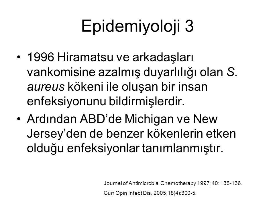 Epidemiyoloji 3 1996 Hiramatsu ve arkadaşları vankomisine azalmış duyarlılığı olan S. aureus kökeni ile oluşan bir insan enfeksiyonunu bildirmişlerdir
