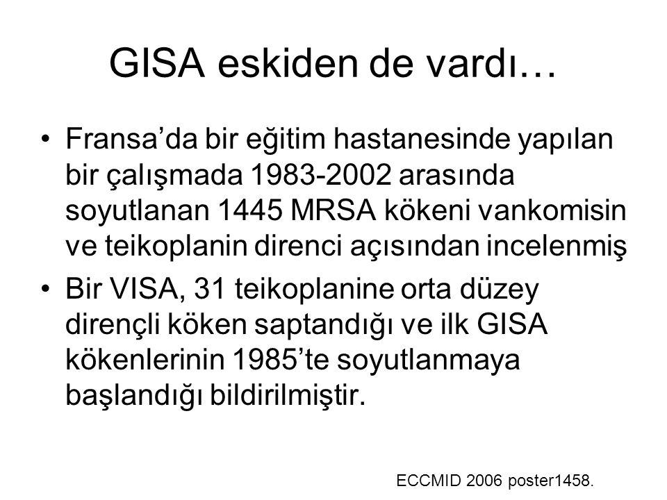 GISA eskiden de vardı… Fransa'da bir eğitim hastanesinde yapılan bir çalışmada 1983-2002 arasında soyutlanan 1445 MRSA kökeni vankomisin ve teikoplanin direnci açısından incelenmiş Bir VISA, 31 teikoplanine orta düzey dirençli köken saptandığı ve ilk GISA kökenlerinin 1985'te soyutlanmaya başlandığı bildirilmiştir.