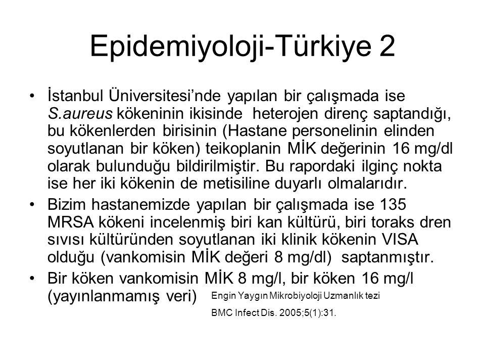 Epidemiyoloji-Türkiye 2 İstanbul Üniversitesi'nde yapılan bir çalışmada ise S.aureus kökeninin ikisinde heterojen direnç saptandığı, bu kökenlerden birisinin (Hastane personelinin elinden soyutlanan bir köken) teikoplanin MİK değerinin 16 mg/dl olarak bulunduğu bildirilmiştir.