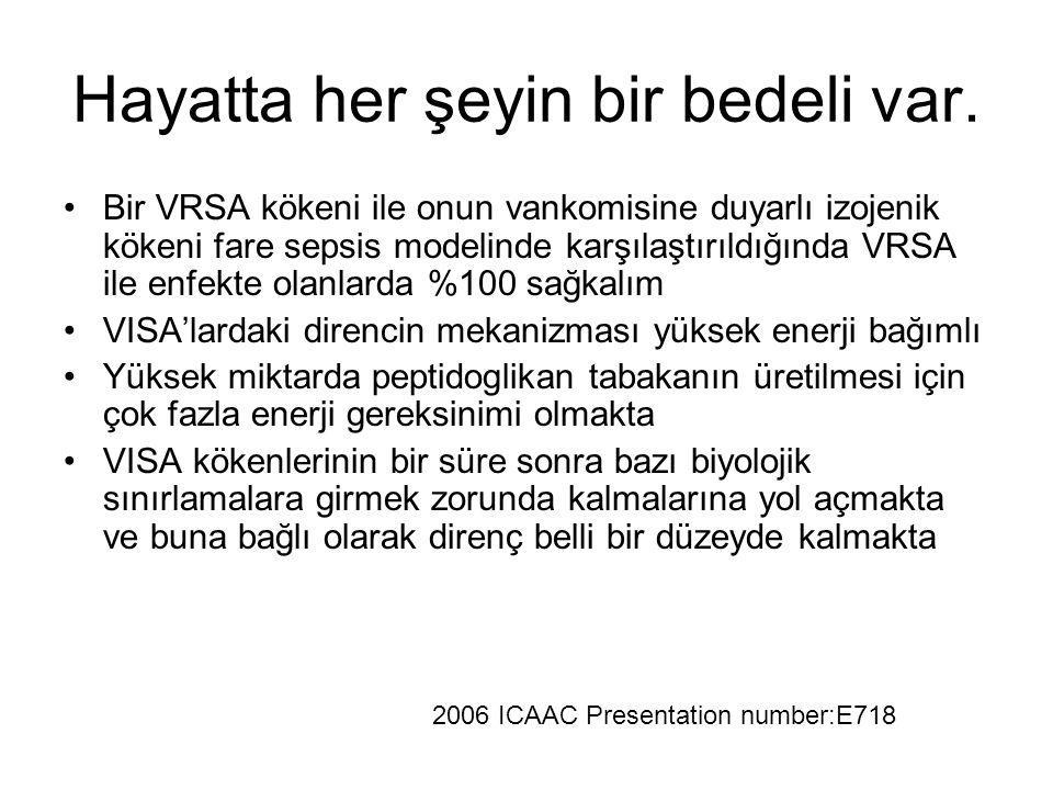 Hayatta her şeyin bir bedeli var. Bir VRSA kökeni ile onun vankomisine duyarlı izojenik kökeni fare sepsis modelinde karşılaştırıldığında VRSA ile enf