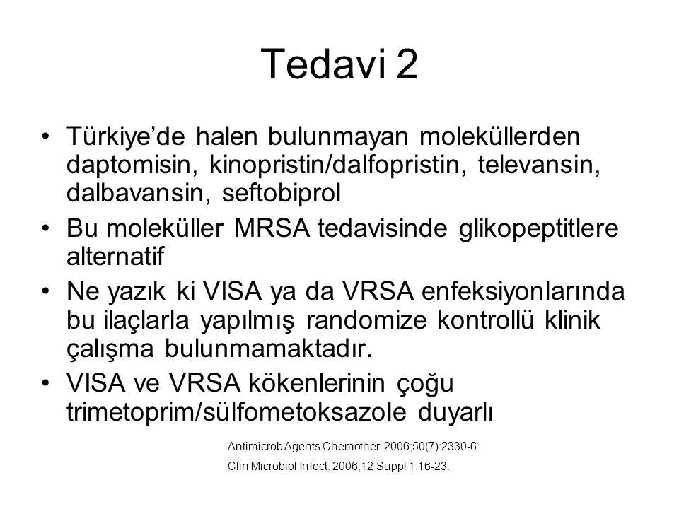Tedavi 2 Türkiye'de halen bulunmayan moleküllerden daptomisin, kinopristin/dalfopristin, televansin, dalbavansin, seftobiprol Bu moleküller MRSA tedavisinde glikopeptitlere alternatif Ne yazık ki VISA ya da VRSA enfeksiyonlarında bu ilaçlarla yapılmış randomize kontrollü klinik çalışma bulunmamaktadır.