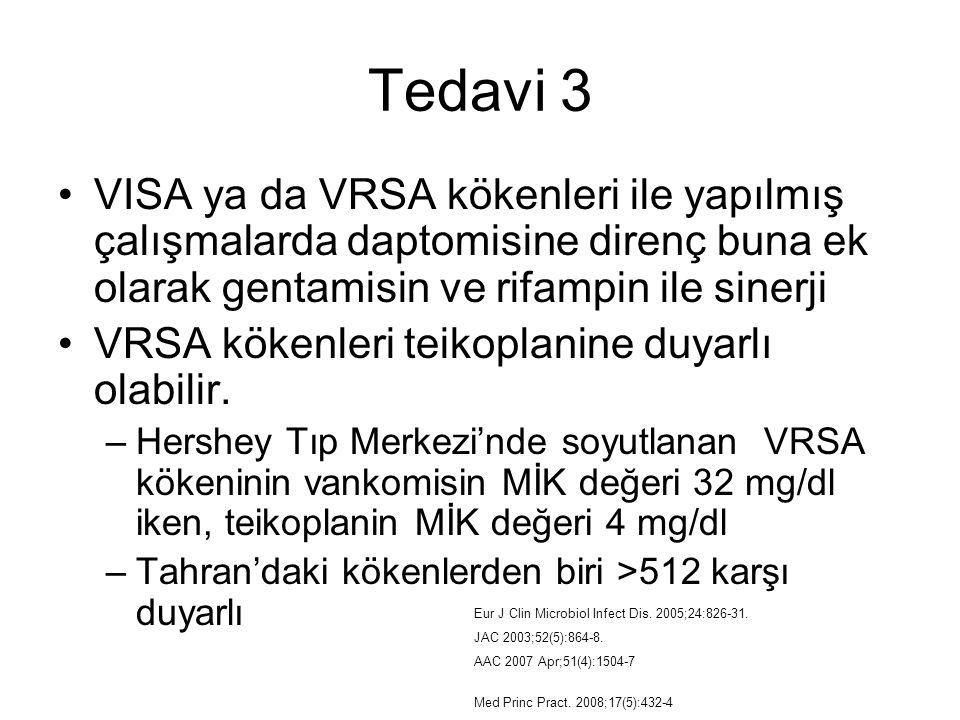 Tedavi 3 VISA ya da VRSA kökenleri ile yapılmış çalışmalarda daptomisine direnç buna ek olarak gentamisin ve rifampin ile sinerji VRSA kökenleri teiko