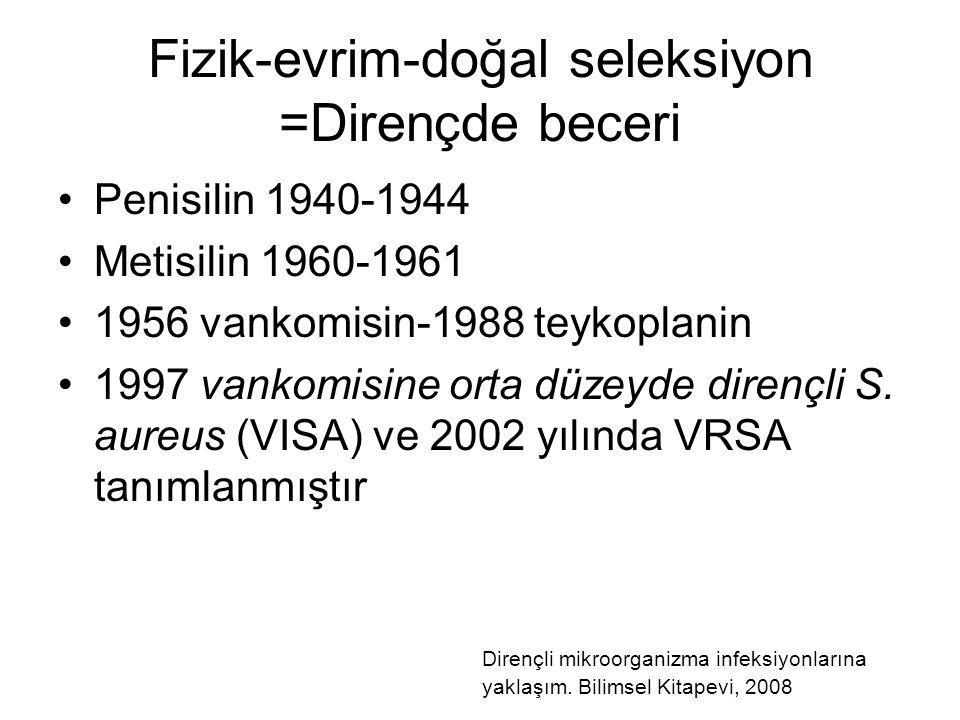 Fizik-evrim-doğal seleksiyon =Dirençde beceri Penisilin 1940-1944 Metisilin 1960-1961 1956 vankomisin-1988 teykoplanin 1997 vankomisine orta düzeyde d