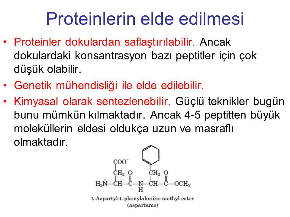 Proteinlerin elde edilmesi Proteinler dokulardan saflaştırılabilir. Ancak dokulardaki konsantrasyon bazı peptitler için çok düşük olabilir. Genetik mü
