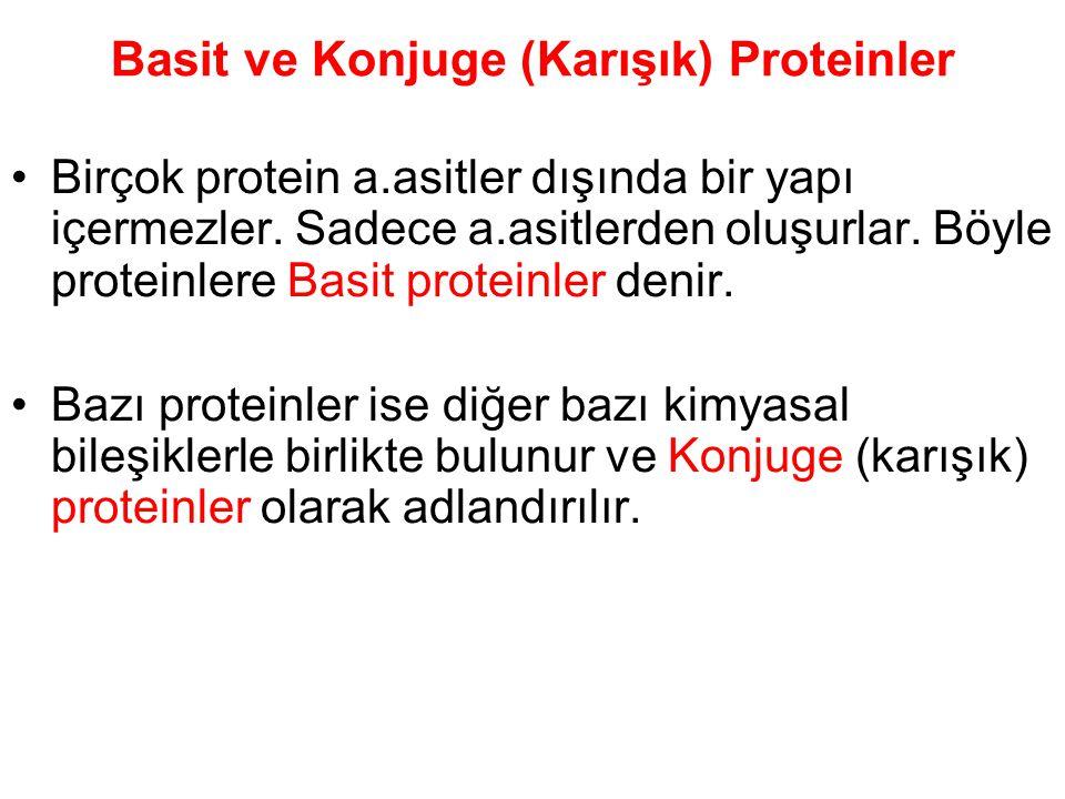 Basit ve Konjuge (Karışık) Proteinler Birçok protein a.asitler dışında bir yapı içermezler. Sadece a.asitlerden oluşurlar. Böyle proteinlere Basit pro